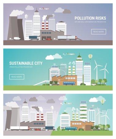 Photo pour Illustration vectorielle des villes propres et polluées - image libre de droit