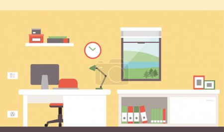 Illustration for Colorful modern office with desk and computer - Royalty Free Image