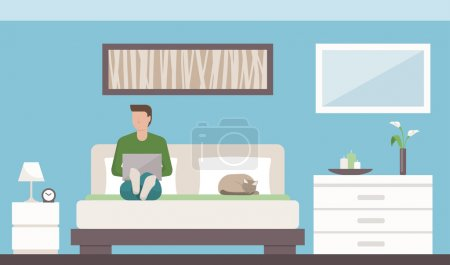 Illustration for Modern bedroom interior with Man relaxing on bed - Royalty Free Image