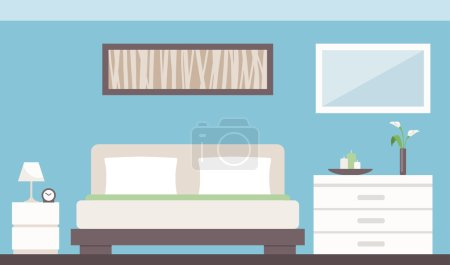 Illustration for Modern bedroom interior with bed, dresser, bedside table and decorations - Royalty Free Image