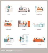 Conceptual home room interiors