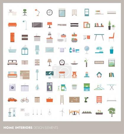 Photo pour Intérieur de la maison éléments de design et icônes ensemble : ameublement, objets et appareils - image libre de droit