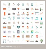 Home room interiors design elements and icons set: furnishings objects and appliances