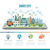 Smart city on digital tablet