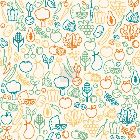 Illustration for Seamless pattern of fresh vegetables, healthy eating and agriculture concept - Royalty Free Image