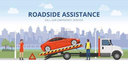broken car and woman calling emergency