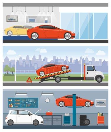Illustration pour Concessionnaire automobile, assistance routière et atelier de réparation automobile bannières ensemble - image libre de droit