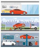 Car services banners set