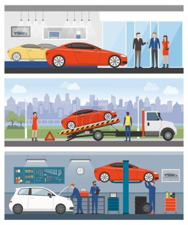 Illustration pour Concessionnaire automobile, assistance routière et atelier de réparation automobile avec les gens et les travailleurs bannières ensemble - image libre de droit