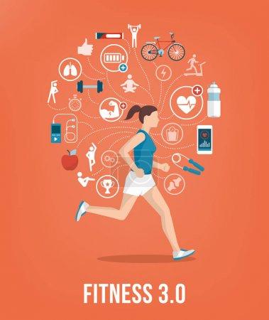 Illustration pour Jeune femme athlétique courant entourée de concepts et d'icônes de fitness - image libre de droit