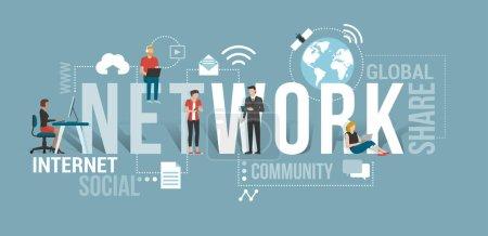 Illustration pour Mise en réseau des médias sociaux avec les avatars masculins et féminins et icônes web - image libre de droit
