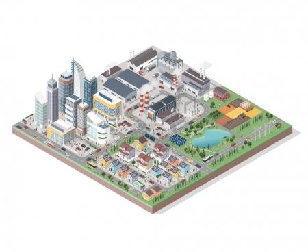 isometric city with buildings