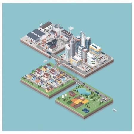 isometric contemporary eco city isles
