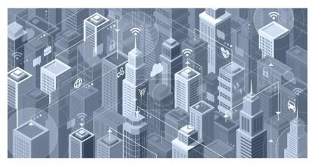 Illustration for Smart city with modern skyscrapers: they are connecting to the internet network, sharing data and services online - Royalty Free Image