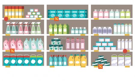 Household products on supermarket shelves