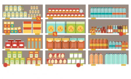 Illustration for Grocery items on the supermarket shelves and offers, shopping and retail concept - Royalty Free Image