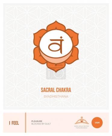 Illustration for Sacral chakra Svadhisthana: chakras, energy healing and yoga poses infographic - Royalty Free Image