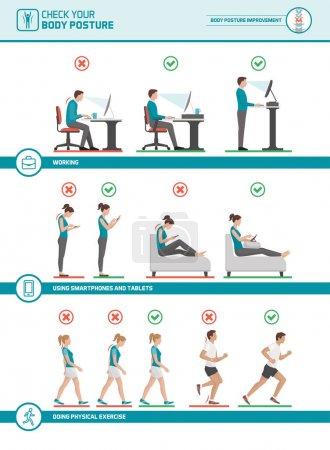 Illustration pour Infographie ergonomique du corps : améliorez votre posture lorsque vous travaillez au bureau, utilisez des appareils mobiles, marchez et courez - image libre de droit