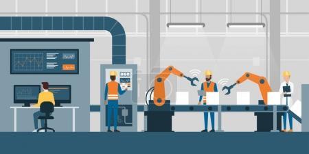 Illustration pour Usine intelligente efficace avec travailleurs, robots et chaîne de montage, industrie 4.0 et concept technologique - image libre de droit