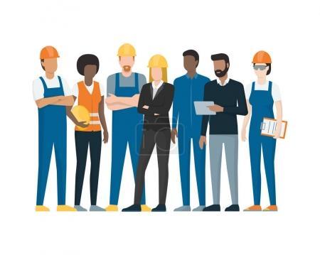 Illustration pour Travailleurs industriels solidaires : ouvriers, techniciens, ingénieurs et cadres - image libre de droit
