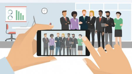 Illustration for Corporate business people meeting in the office and posing together, a man is taking a picture using a smartphone and sharing it online - Royalty Free Image
