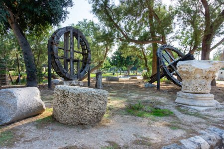 attractions in the national park of the city of Ashkelon, Israel. Antique monuments. Archeology.