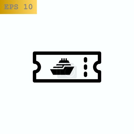 Illustration for Sea cruise ticket icon. vector illustration - Royalty Free Image