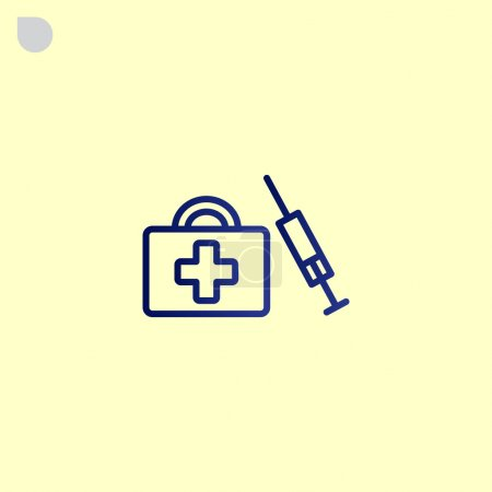 Illustration for First aid kit and syringe icon. vector illustration - Royalty Free Image