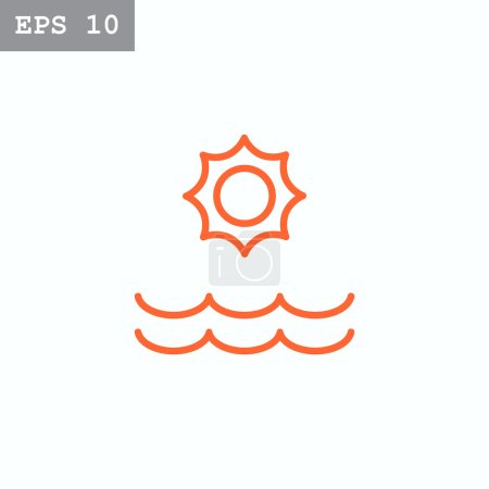 Illustration for Sun and sea waves icon. vector illustration - Royalty Free Image