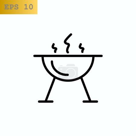 brazier for barbecue, grill icon