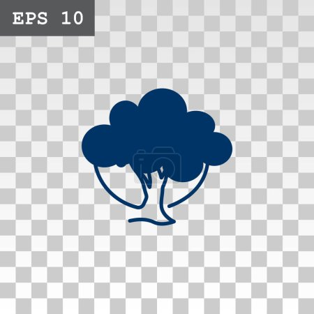 Illustration for Tree flat style icon, vector illustration - Royalty Free Image