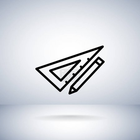 Pencil with triangle ruler icon