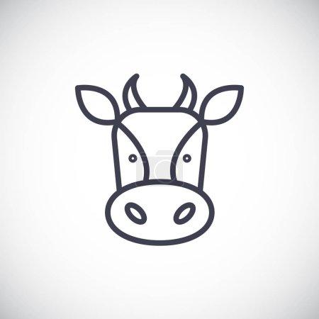 Illustration pour Icône tête de vache en style plat - image libre de droit