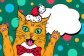 Wow pop art red cat  face Funny surprised cat in Santa Claus hat with open mouth rising his paws up Vector Christmas illustration in retro comic style Vector pop art background