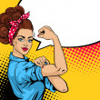 We Can Do It poster. Pop art sexy strong girl. Cla...