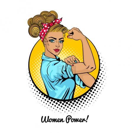 Illustration pour Women Power. Pop art sexy forte fille blonde dans un cercle sur fond blanc. Symbole américain classique du pouvoir féminin, des droits de la femme, de la protestation, du féminisme. Illustration vectorielle colorée dans un style rétro comique . - image libre de droit