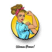 Women Power Pop art sexy strong blonde girl in a circle