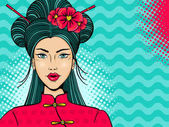Pop art face Young sexy asian woman with open mouth chopsticks and flowers on her head on waves and halftone background Vector illustration in retro comic style  Party invitation poster