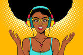 Young sexy african american black woman with open smile in headphones listening to the music and spreading her hands Vector bright background in pop art retro comic style Party invitation poster