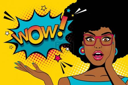Illustration for Wow pop art  face. Sexy surprised young african woman with open mouth and afro hairstyle in glasses and Wow speech bubble. Vector colorful background in pop art retro comic style. - Royalty Free Image