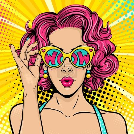 Illustration for Wow pop art face. Sexy surprised woman with pink curly hair and open mouth holding sunglasses in her hand with inscription wow in reflection. Vector colorful background in pop art retro comic style. - Royalty Free Image