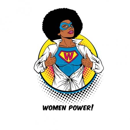 Women Power. Pop art sexy african american woman in mask shows superhero t-shirt with W sign on chest in circle on white background. Female power, feminism. Vector illustration in retro comic style.