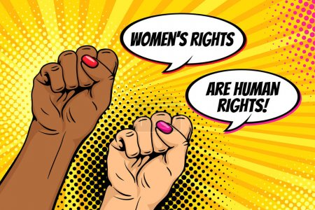 Illustration for Pop art background with famale hands clenched into fists and Women rights are human rights speech bubbles. Symbol of female power, protest, feminism. Vector bright poster in retro comic style. - Royalty Free Image