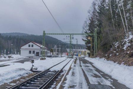 Cold winter morning in Lipno nad Vltavou station