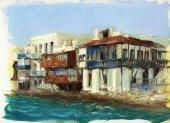 Old houses near the sea on the island of Mykonos ,Greece 7