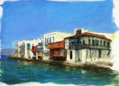 Old houses near the sea on the island of Mykonos ,Greece 8