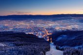 Town Liberec from mountain before sunrise