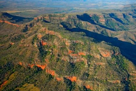 Brazil Mountain. Gren tree forest on the hill. Evening light in Pantanal, travelling in Brazil. Aerial photo, landscape in Pantanal