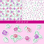 Set of seamless floral patterns Red and pink roses on a white background Colored circles arranged randomly For design greeting cards for Valentines day for design wrapping paper and textiles