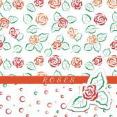 Set of seamless floral patterns Red and orange roses on white background Colored circles arranged randomly For design  greeting cards for Valentines day for design wrapping paper and textiles